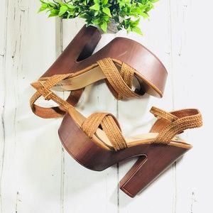{JustFab} Brown/Tan Ankle Strap Heels Size 7.5